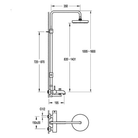 BS17 Душ-система с телескопично тръбно окачване и чучур