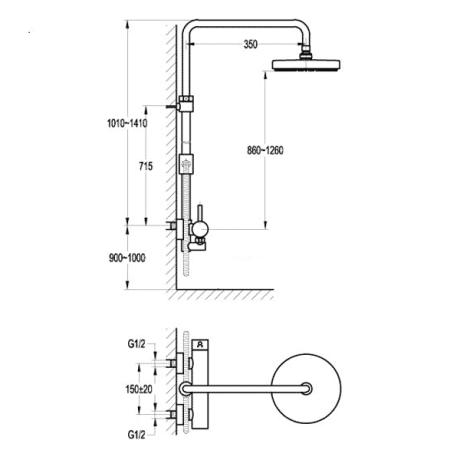 BS18 Душ-колона с телескопично тръбно окачване без чучур