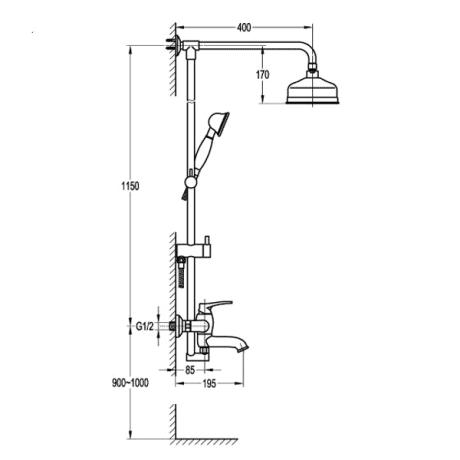 BS23 Ретро душ-колона с чучур