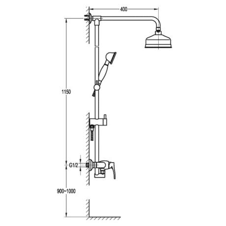 BS24 Ретро душ-колона с телескопично тръбно окачване без чучур