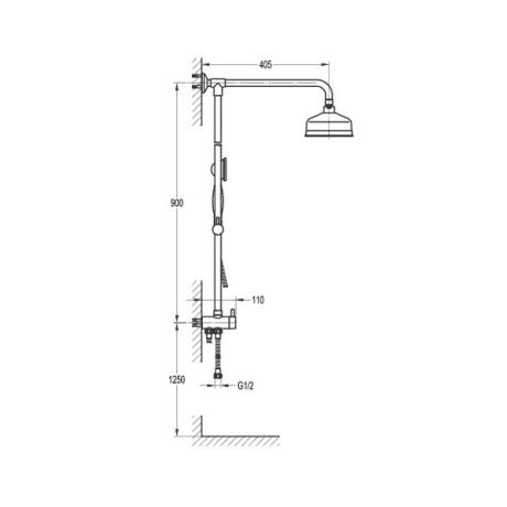 BS25 Ретро душ-колона без смесително тяло
