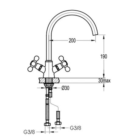 BS06 двуръкохватков стоящ смесител за кухня