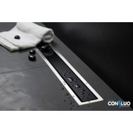 CONFLUO LINE 3 линеен сифон 85 cm от Черно стъкло