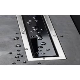 CONFLUO LINE 3 линеен сифон 45 cm от Черно стъкло