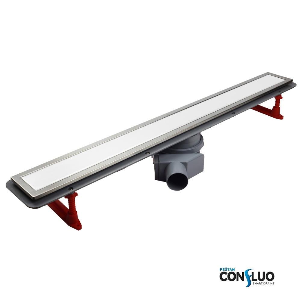 CONFLUO LINE 1 линеен сифон 45 cm от Бяло стъкло