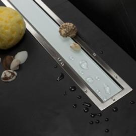 CONFLUO LINE 1 линеен сифон 65 cm от Бяло стъкло