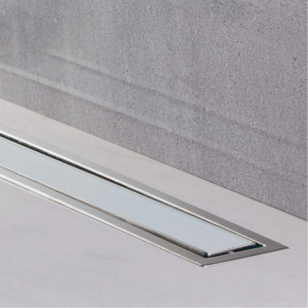 CONFLUO LINE 1 линеен сифон 55 cm от Бяло стъкло