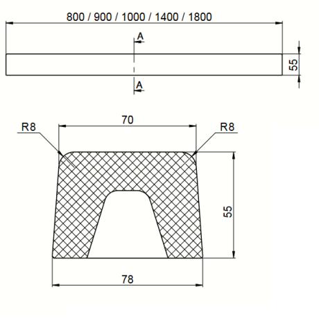 FAT Праг за душ-кабина 80х55 от Полимермрамор - Прав