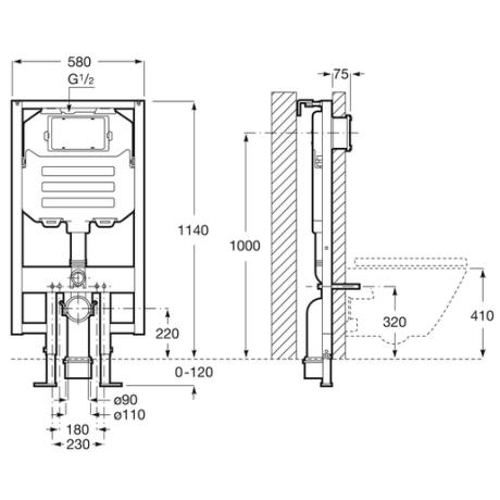 DUPLO WC компактна структура с дебелина 8 см.