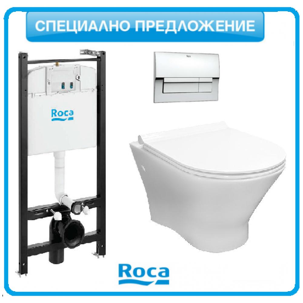 NEXO стенна тоалетна с тънък капак плавно падане и конструкция ACTIVE и бутон хром B01