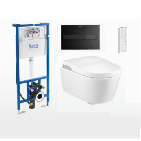 Комплект стенна тоалетна Roca Inspira In-Wash с биде, плавен капак и казанче Duplo Smart