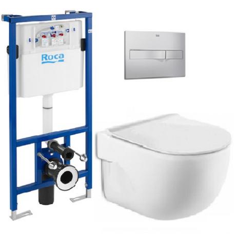 Roca MERIDIAN RIMLESS промо комплект стенна тоалетна, плавен и тънък капак, конструкция DUPLO