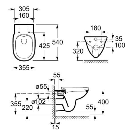 DEBBA ROUND RIMLESS стенна тоалетна с безръбово обливане