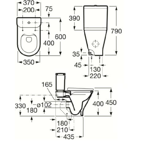 GAP ROUND RIMLESS моноблок компактен със седалка и капак, странично захранване на казанчето