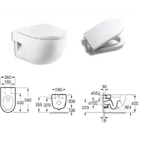 MERIDIAN Стенна тоалетна със седалка и капак забавено падане