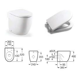 MERIDIAN стояща тоалетна за високо казанче със седалка и капак