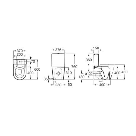 INSPIRA Round Моноблок с казанче и капак с плавно затваряне - компактен модел