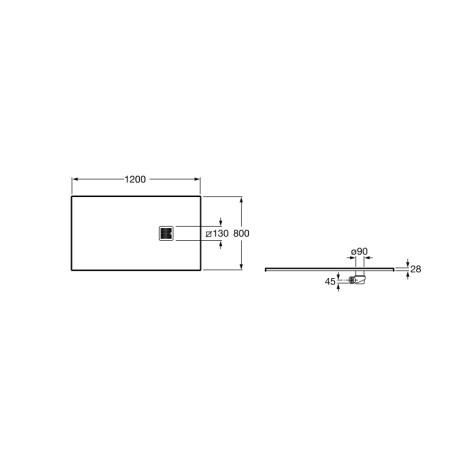 TERRAN 120/80 душ корито със сифон