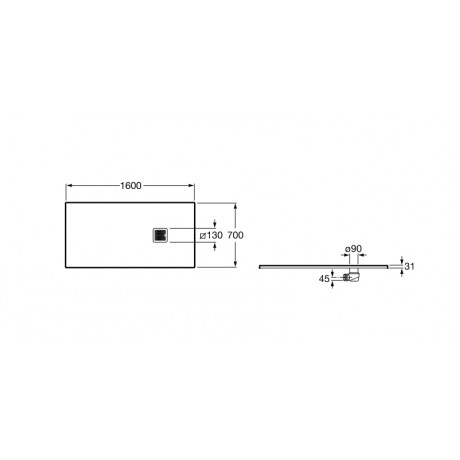 TERRAN 160/70 душ корито със сифон