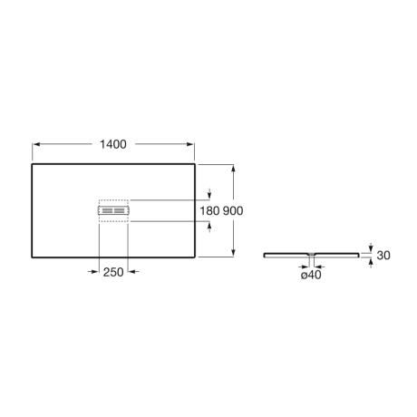 HELIOS 140x90 душ-корито от технически камък