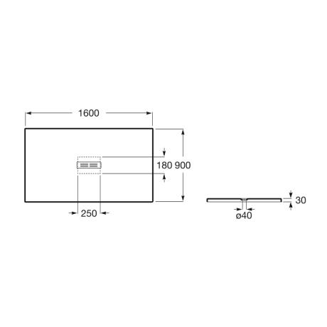 HELIOS 160x90 душ-корито от технически камък