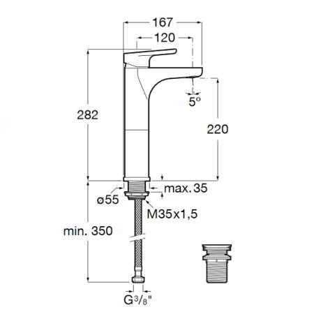 ANARA Висок смесител за умивалник с клик клапа и студен старт