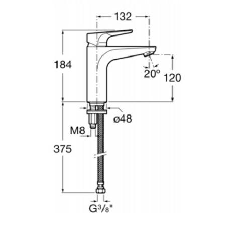 ATLAS  XL смесител 18 см висок за умивалник, без клапан