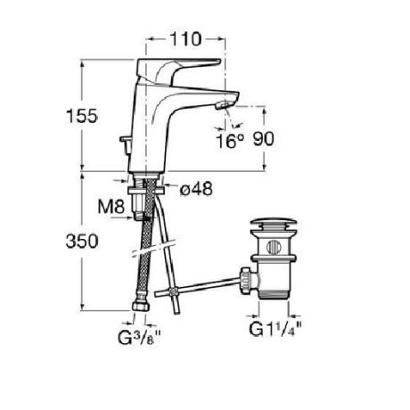 ATLAS смесител за умивалник стоящ с клапан