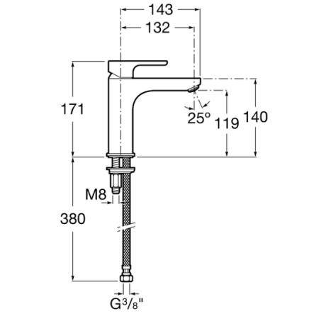 L 20  XL смесител висок за умивалник без клапа