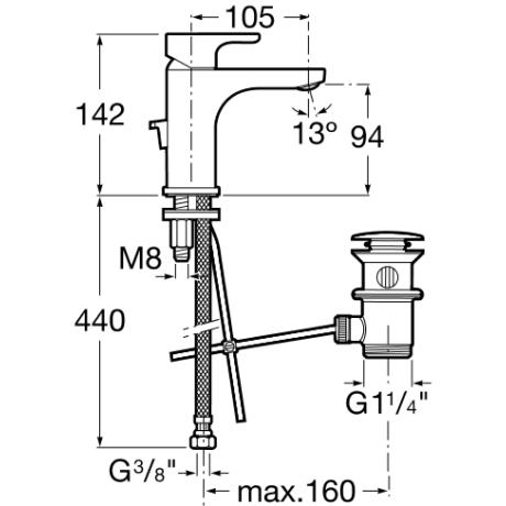 L 20 смесител прогресив тип за умивалник с клапа