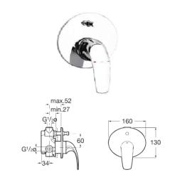 M2 вграден смесител за вана и душ
