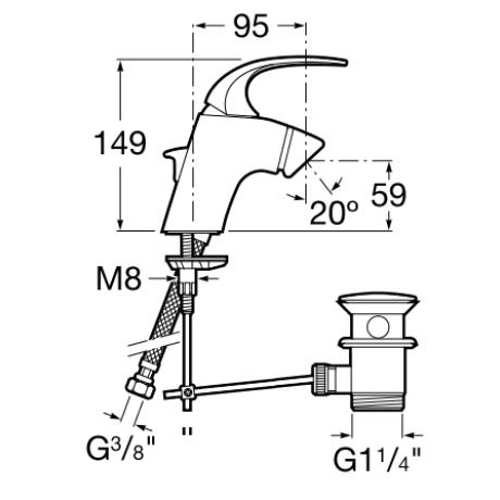 M2 смесител за биде стоящ с клапа