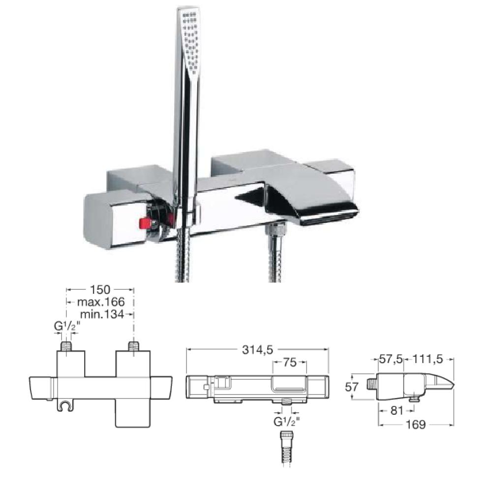 THESIS термостатичен смесител за вана и душ
