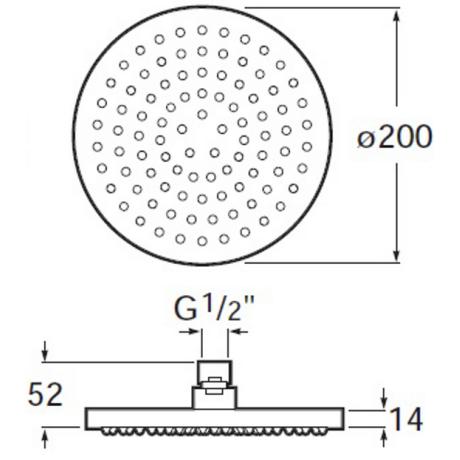 Rainsense Кръгла душ глава за монтаж на стена или таван с диаметър 200 мм