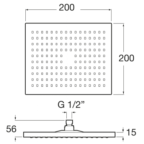 Rainsense Квадратна душ глава за монтаж на стена или таван 300 х 300 мм Черен Мат