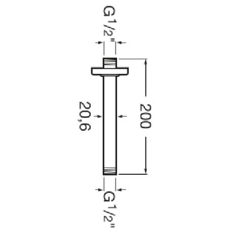 Право кръгло рамо за душ глава, за монтаж на таван с дължина 200 мм
