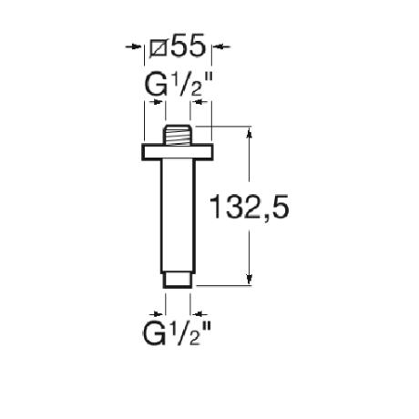 Квадратно рамо за душ глава, за монтаж на таван,  с дължина 100 мм