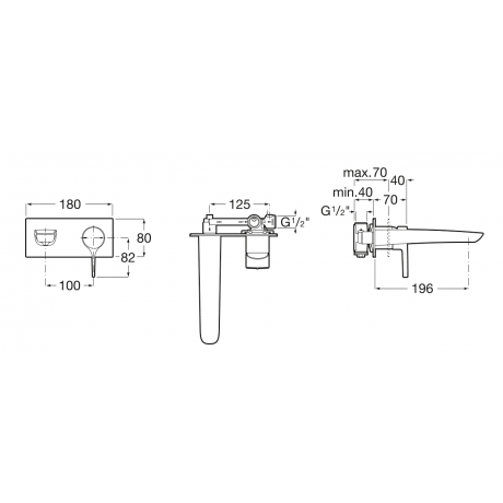 INSIGNIA вграден смесител за умивалник, черен