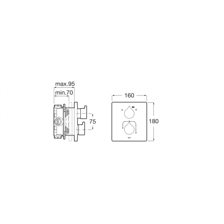 INSIGNIA термостатичен смесител за вана/душ, черен