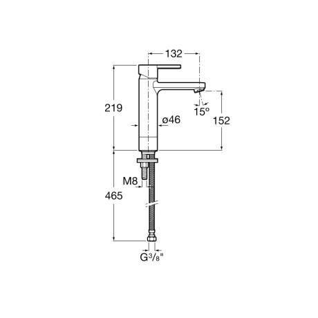Naia смесител за умивалник със средна височина, с click-clack клапа, Cold Start