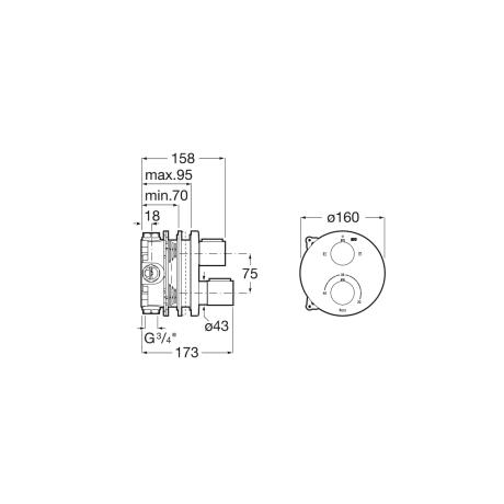 T-1000 Round вграден термостатичен смесител за вана душ