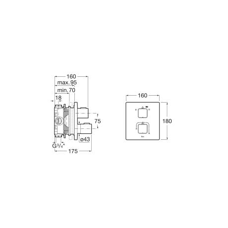T-1000 вграден термостатичен смесител за вана и душ