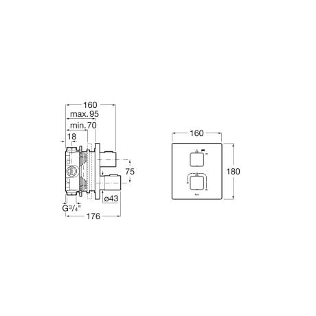 T-1000 вграден термостатичен смесител за душ
