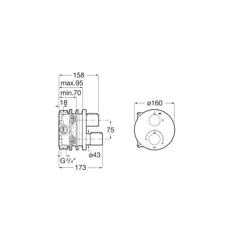 T-1000 Round вграден термостатичен смесител за душ