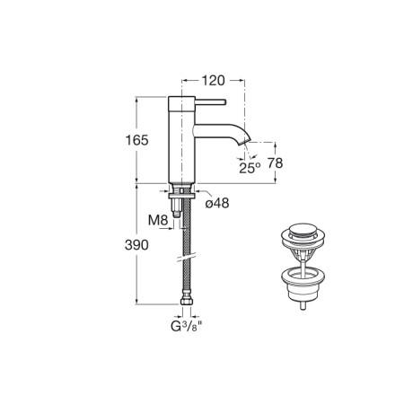 Lanta смесител за умивалник висок 21 см, Cold Start ръкохватка и клик клапа