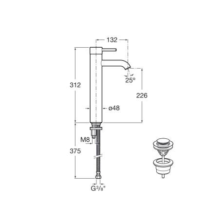 Lanta висок смесител за умивалник с click-clac клапа и Cold Start