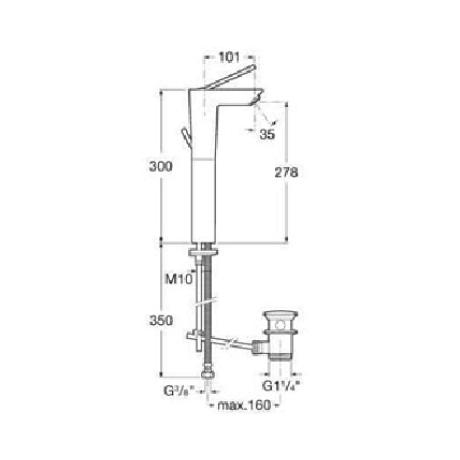 TOUCH смесител висока база за умивалник с автоматичен клапан