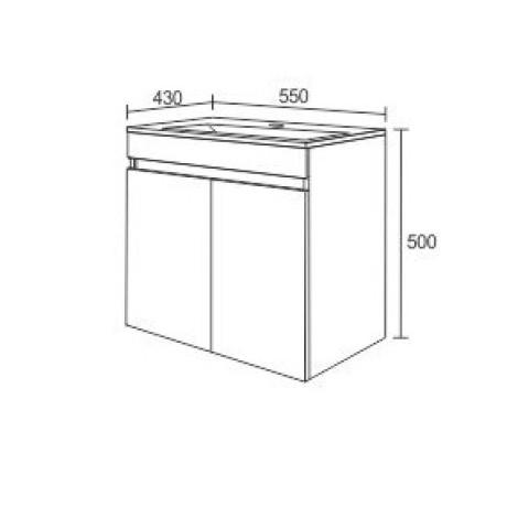 Мебел за баня с две врати и умивалник EL 55
