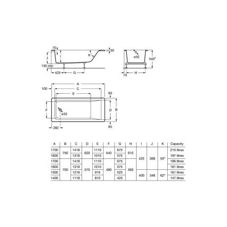 EASY Акрилна вана S 1600 с хидромасаж