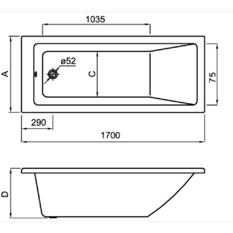 NOLAH 170 x 75  правоъгълна акрилна вана